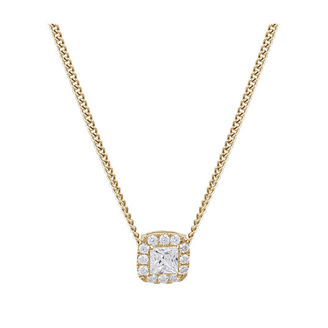 9ct Yellow Gold 0.30ct Princess Cut Diamond Halo Pendant