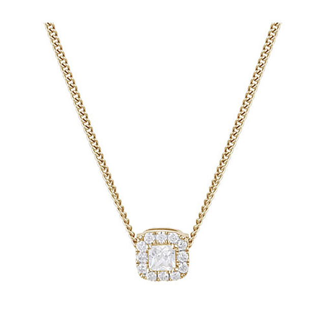 9ct Yellow Gold Princess Cut Diamond Halo Pendant