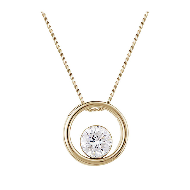 9ct Yellow Gold 0.30ct Floating Diamond Pendant