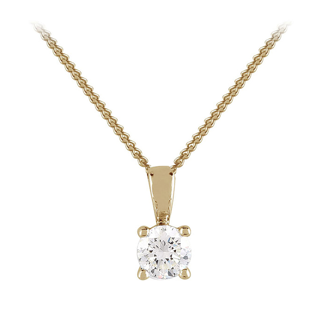 9ct Yellow Gold 0.15ct 4 Claw Diamond Pendant