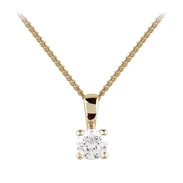 9ct Yellow Gold 0.25ct 4 Claw Diamond Pendant