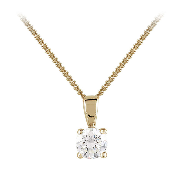 9ct Yellow Gold 0.33ct 4 Claw Diamond Pendant