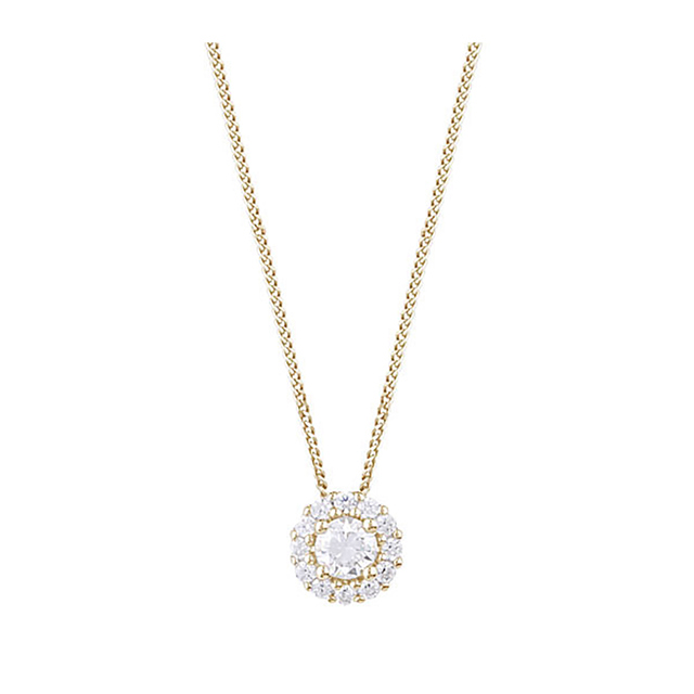 9ct Yellow Gold 0.30ct Diamond Halo Pendant