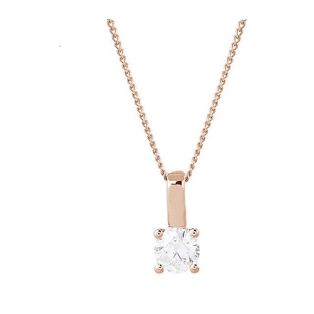 9ct Rose Gold 0.25ct Brilliant Cut Pendant