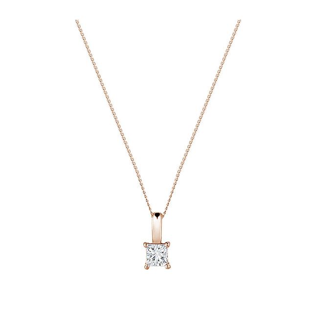 9ct Rose Gold 0.25ct Princess Cut Diamond Pendant
