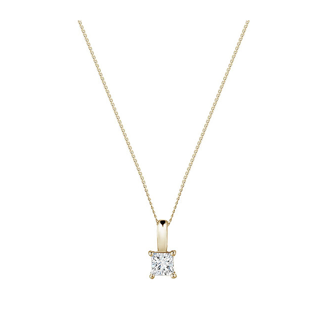 18ct Yellow Gold 0.50ct Princess Cut Diamond Pendant