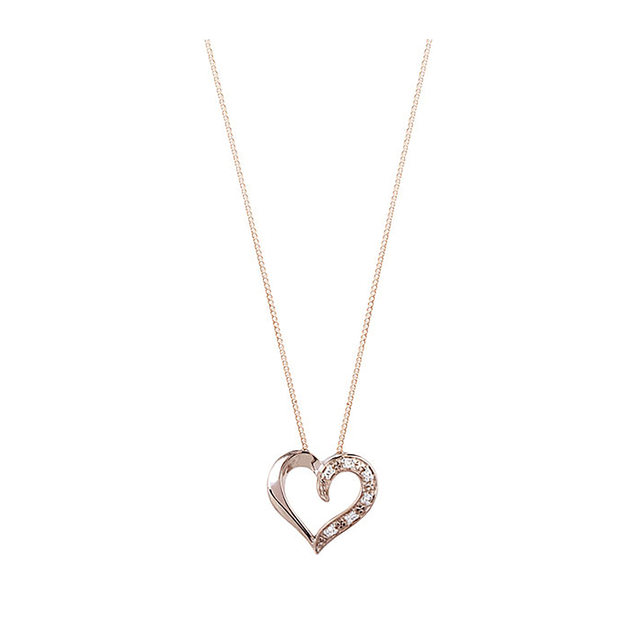 9ct Rose Gold Diamond Set Heart Pendant