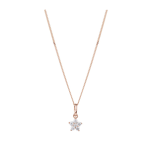 9ct Rose Gold 0.15ct Diamond Small Flower Pendant