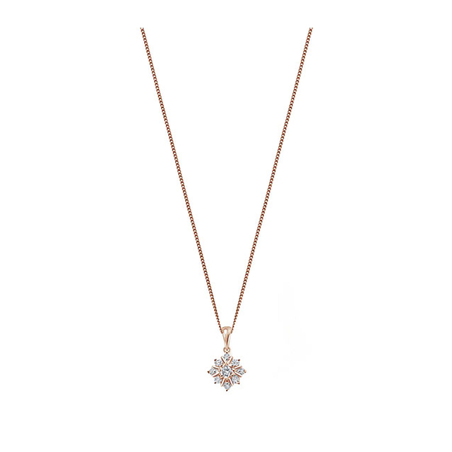 9ct Rose Gold 0.21ct Diamond Snow Flake Pendant