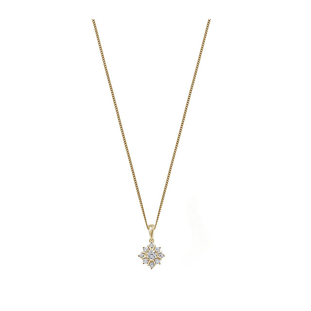 9ct Yellow Gold 0.21ct Diamond Snow Flake Pendant