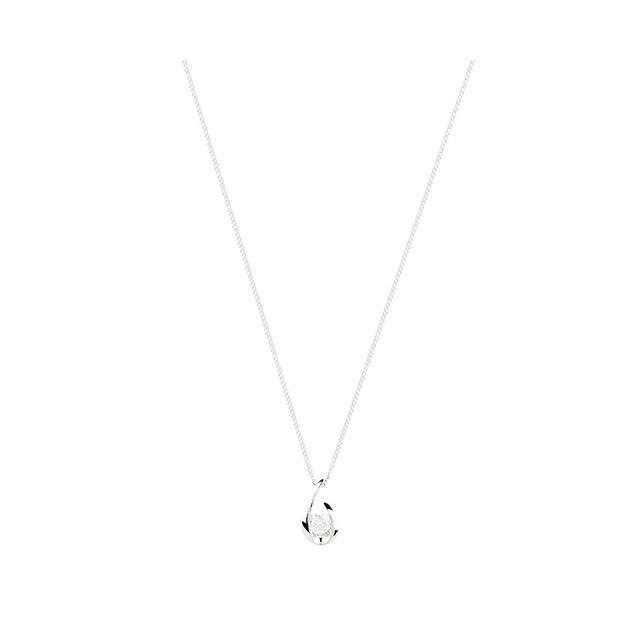9ct White Gold 0.15ct Diamond Swoop Pendant