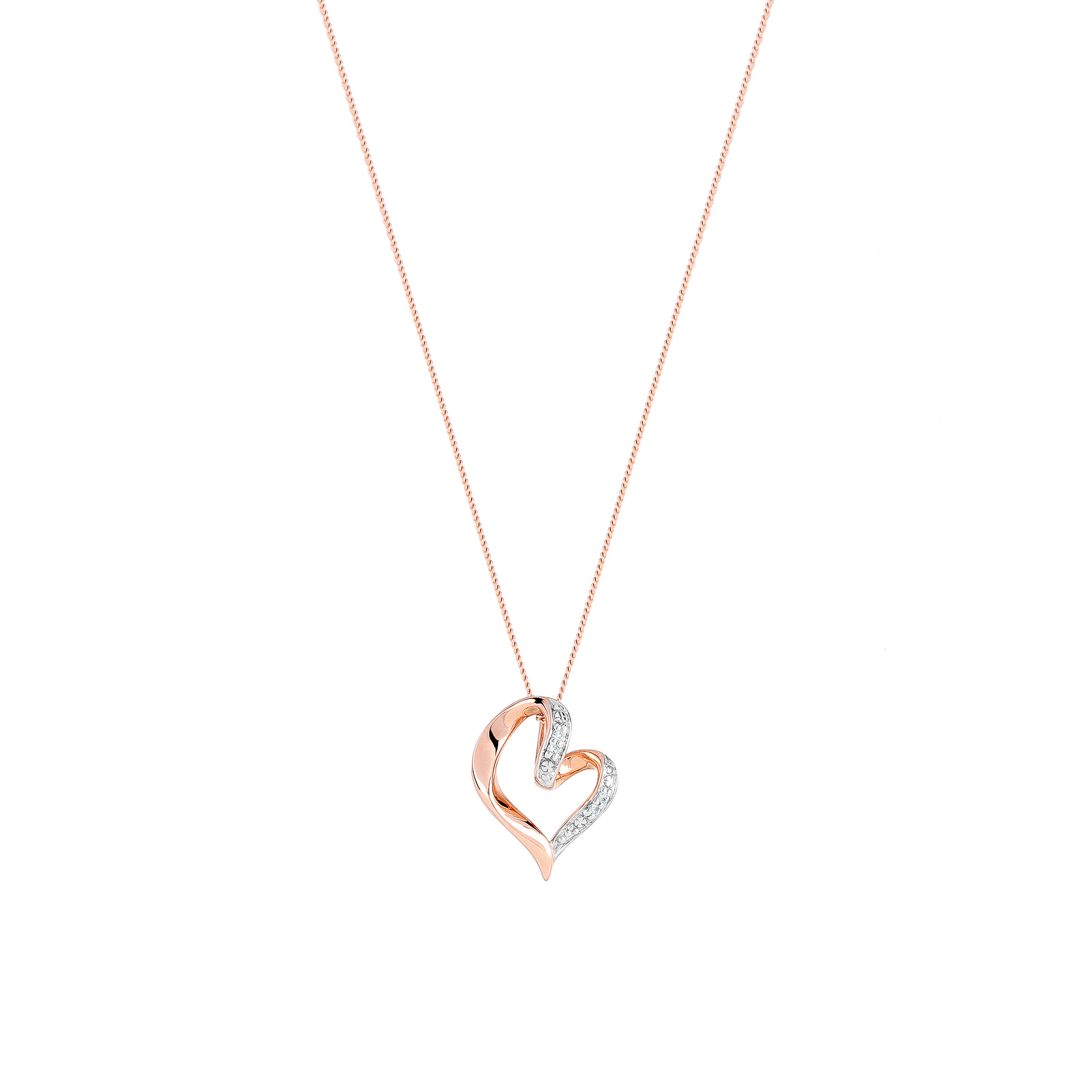 9ct Rose Gold Diamond Heart Pendant Necklaces