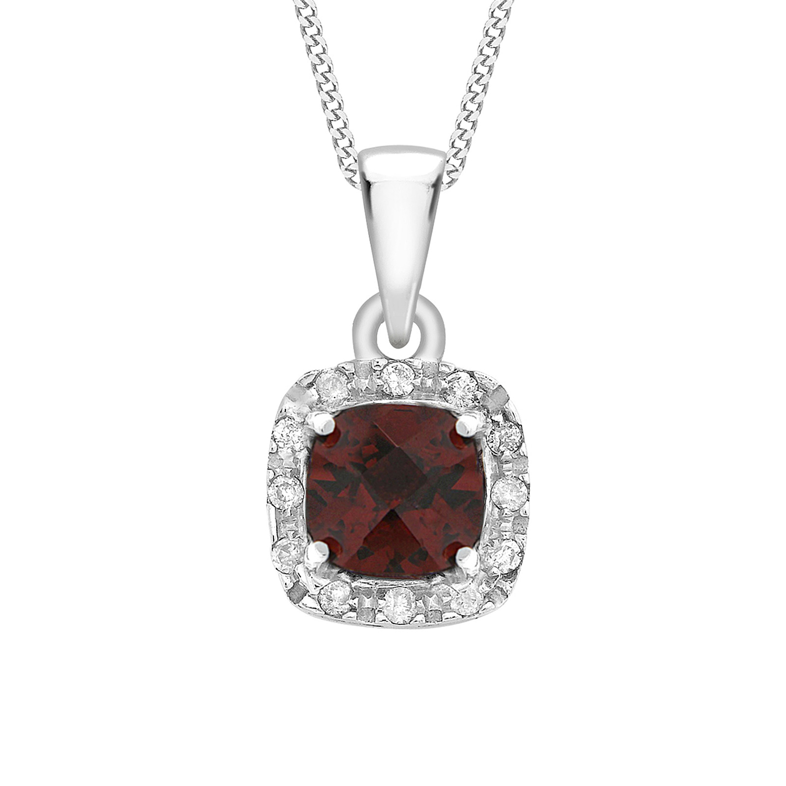9ct White Gold Cushion Garnet And 0.05cttw Diamond Pendant