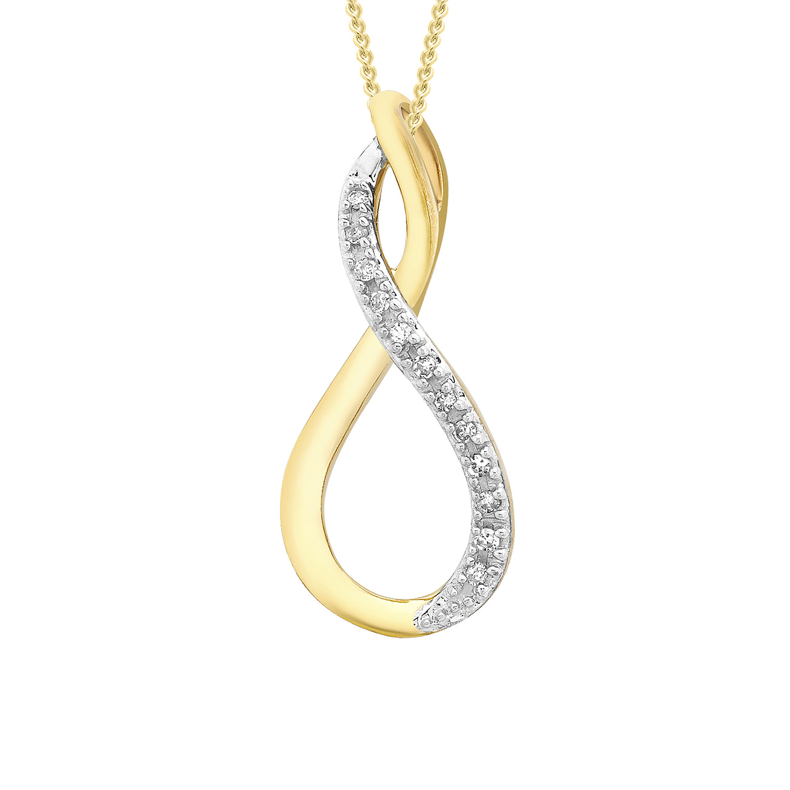 9ct Yellow Gold 0.03cttw Diamond Set Infinity Pendant