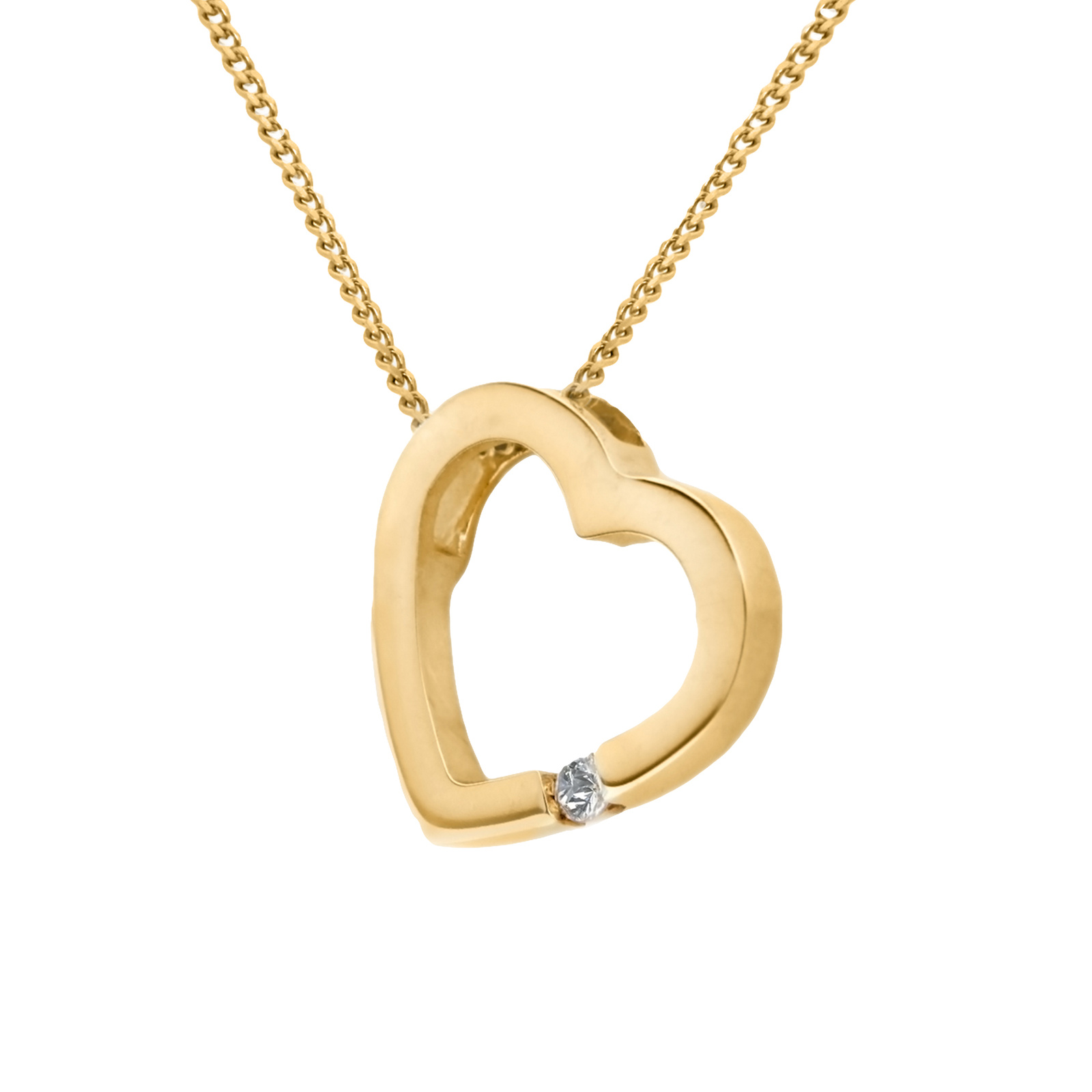 9ct Yellow Gold Diamond Set Heart Slider Pendant