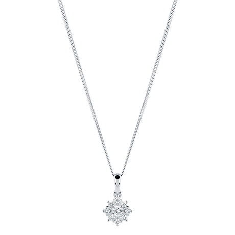 For Her - 9ct White Gold 0.10cttw Snowflake Pendant - 12142859