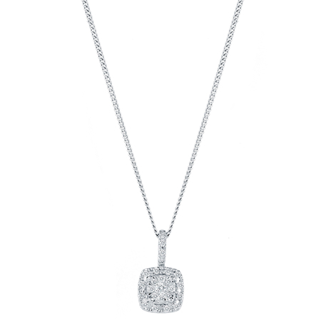 For Her - 9ct White Gold 0.12cttw Multi Stone Halo Pendant - 12142860