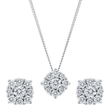 9ct White Gold 0.50cttw Flower Cluster Earring & Pendant Set