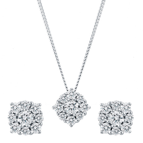 For Her - 9ct White Gold 0.50cttw Flower Cluster Earring & Pendant Set - 12142861