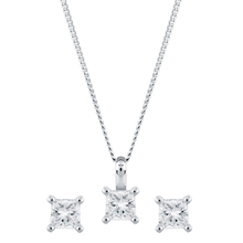 9ct White Gold 0.30cttw Princess Cut Earring & Pendant Set