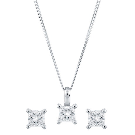 For Her - 9ct White Gold 0.30cttw Princess Cut Earring & Pendant Set - 12142864