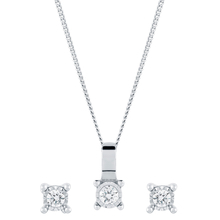 9ct White Gold 0.15cttw Illusion Earrings & Pendant Set
