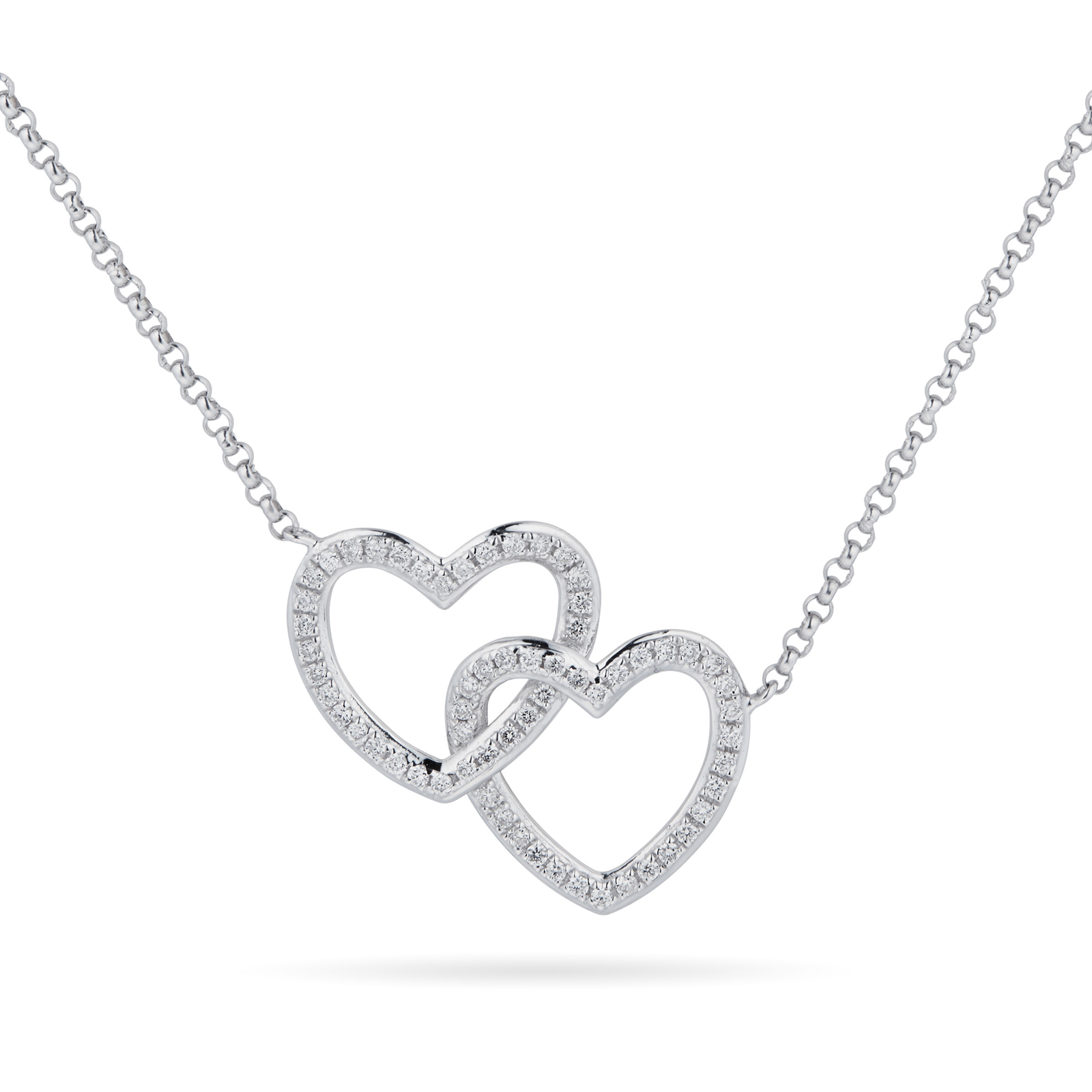 9ct White Gold 0.14 Carat Total Weight Diamond Interlocking hearts pendant