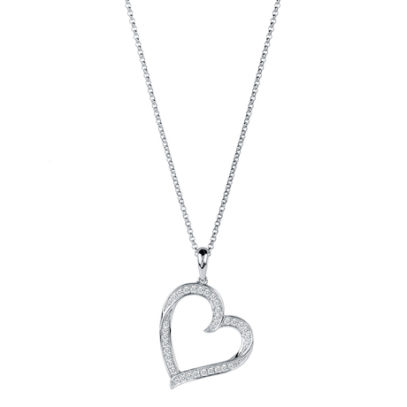 For Her - 9ct White Gold 0.20 Carat Total Weight Diamond Large Heart Pendant - 12142870