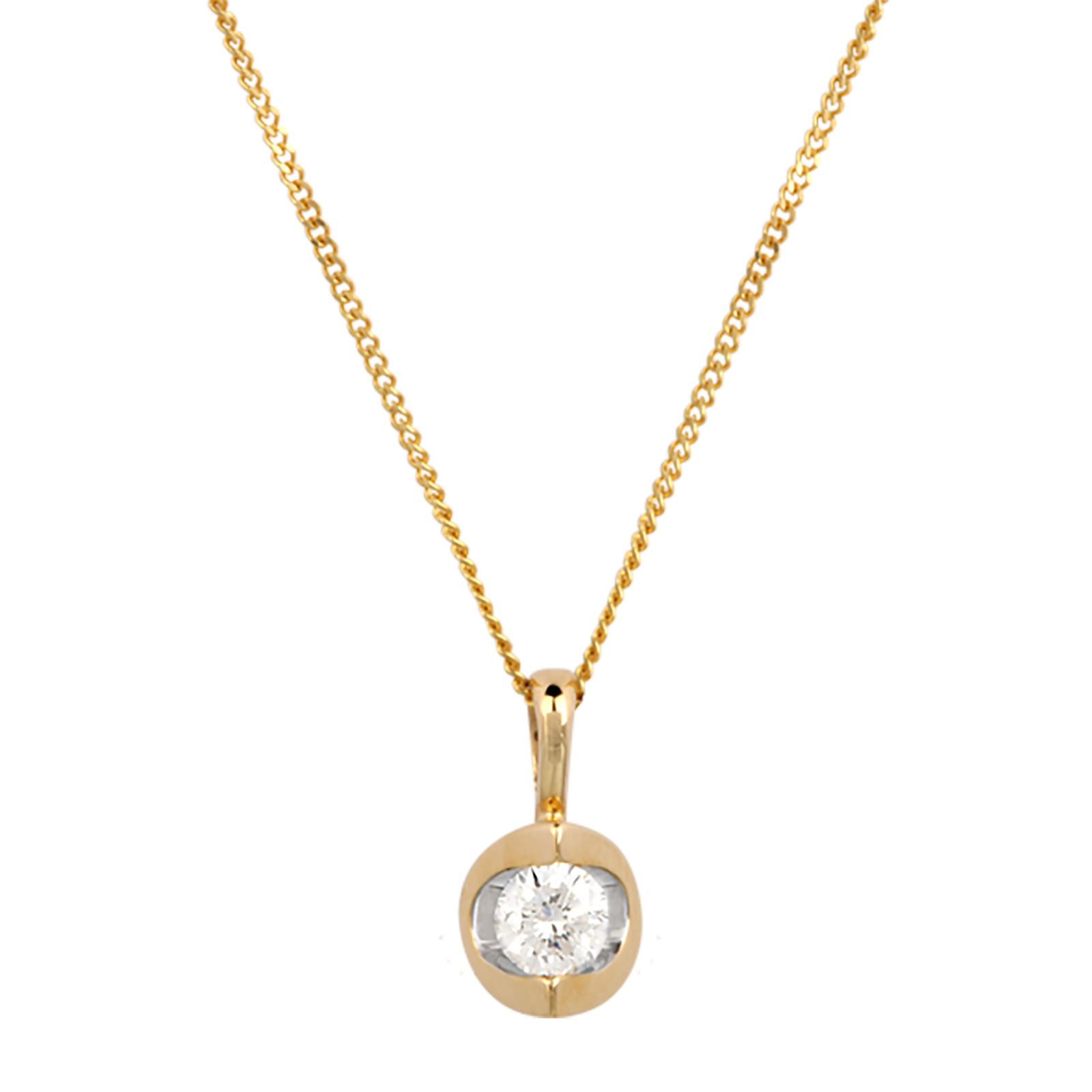 9ct Yellow Gold 0.25ct Tension Set Diamond Pendant