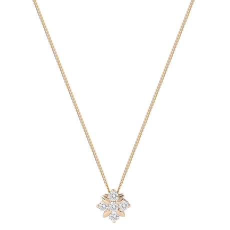 For Her - 9ct Yellow Gold 0.20 Carat Total Weight Diamond Flower Pendant - 12142878