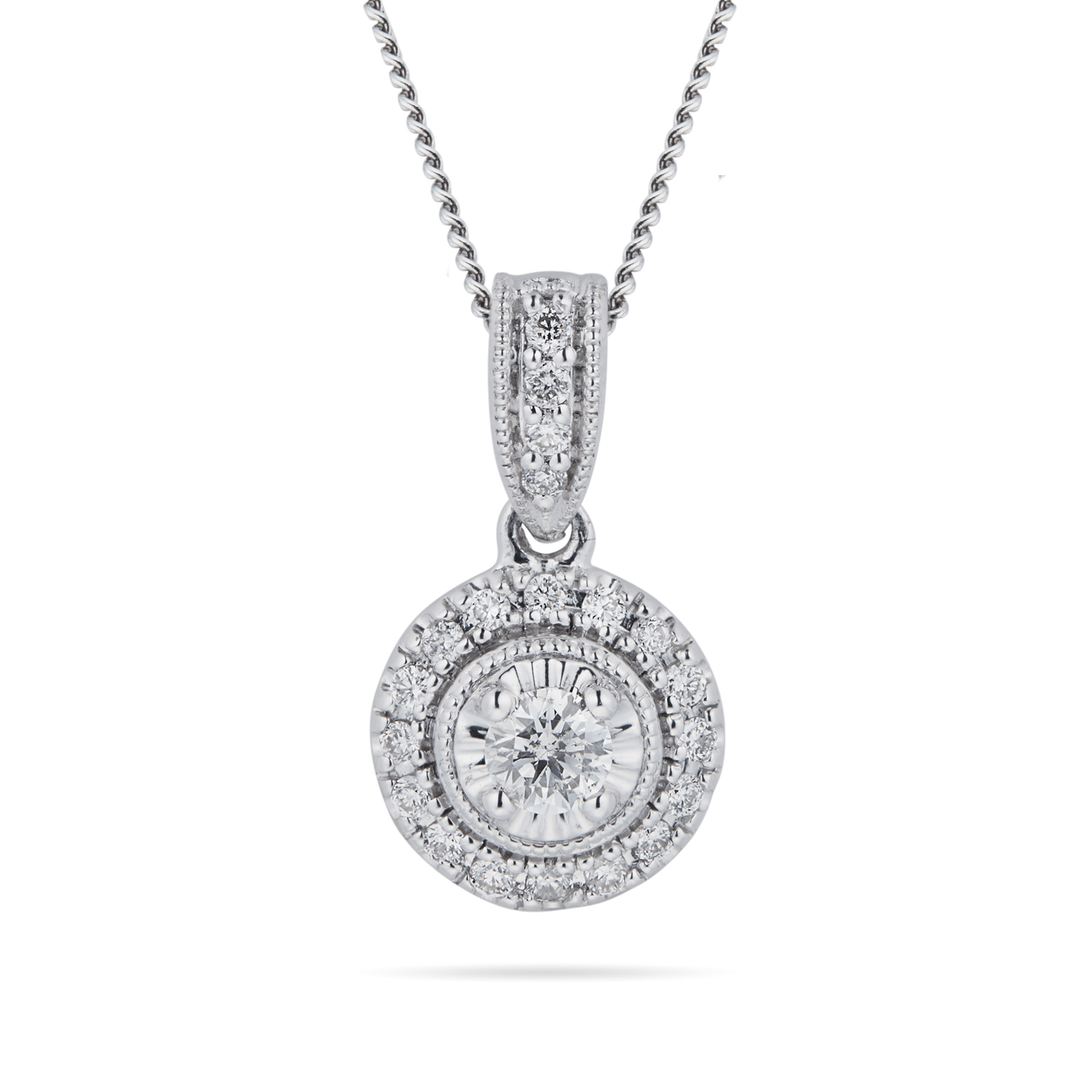 9ct White Gold 0.20cttw Diamond Halo Pendant