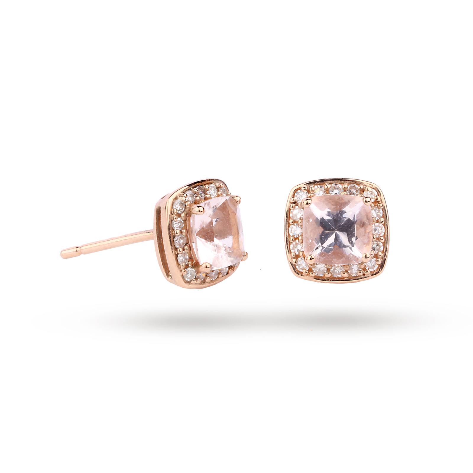 9ct Rose Gold Cushion Cut Morganite Stud Earrings