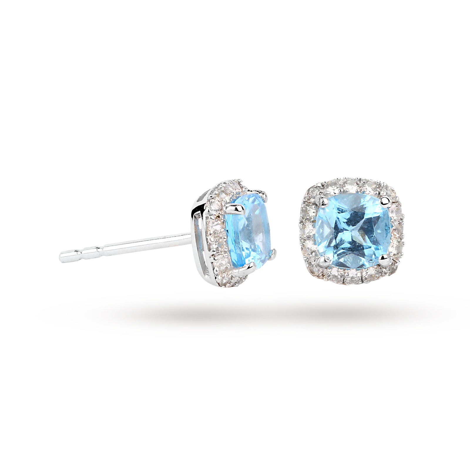9ct White Gold Blue Topaz and White Sapphire Stud Earrings