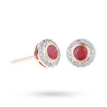 9ct Rose Gold Ruby and Diamond Halo Stud Earrings