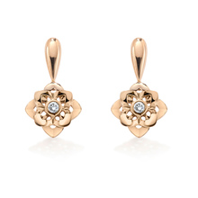 Floresco Drop Earrings With Single Diamond