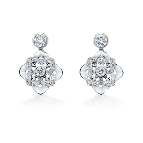Floresco Drop Earrings With Pave Set Diamonds