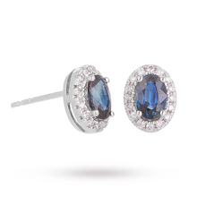 18 Carat White Gold Sapphire and Diamond Halo Stud Earrings