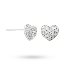 9 Carat White Gold 0.15 Carat Diamond Pave Heart Studs