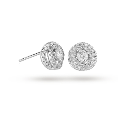 18 Carat White Gold 0.50 Carat Total Weight Halo Earring