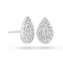 18 Carat White Gold 0.50 Carat Total Weight Pear Cluster Earring
