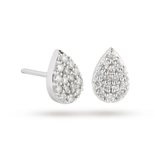 9 Carat White Gold 0.25 Carat Total Weight Pear Cluster Earring