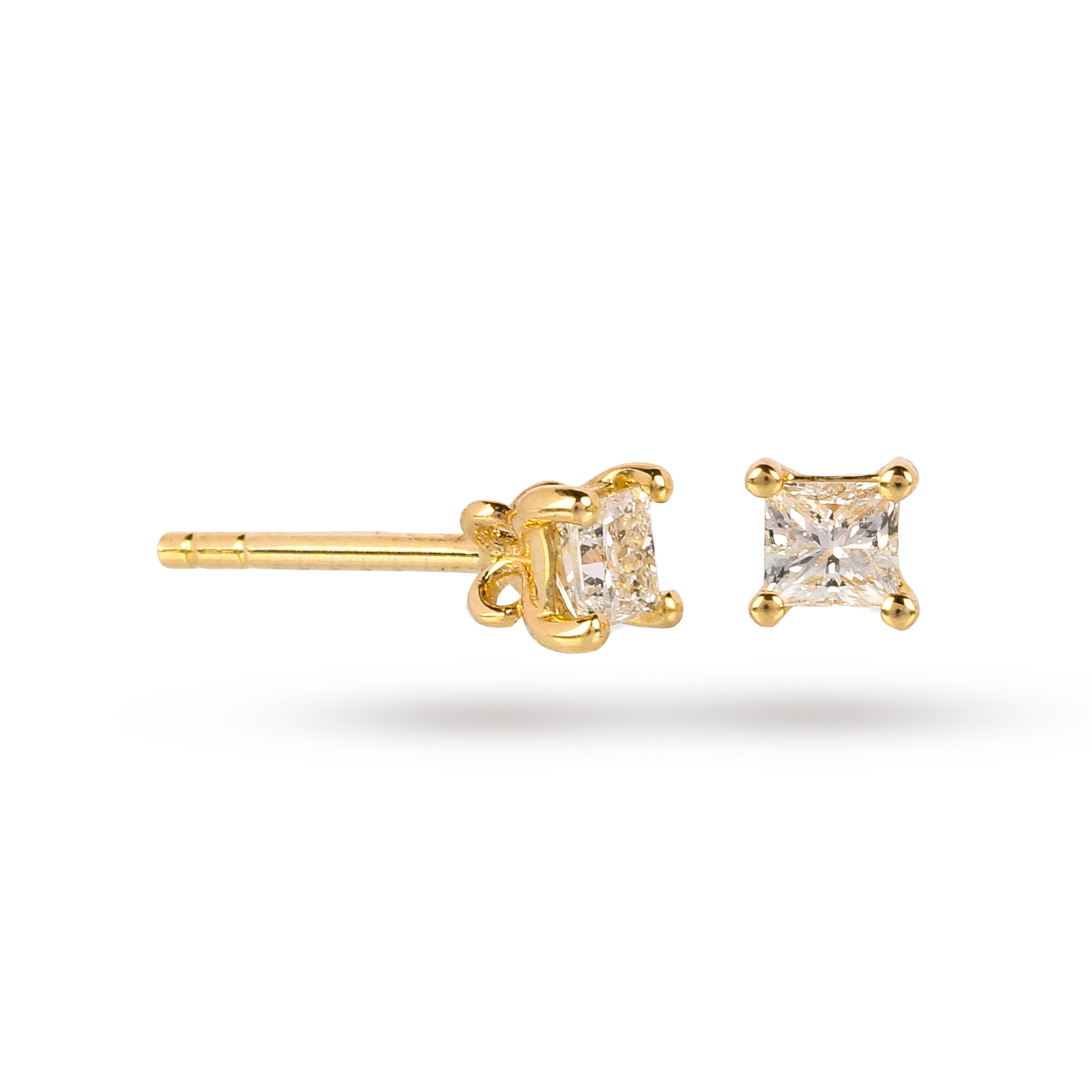 9ct Yellow Gold 0.25ct Princess Cut Stud Earrings