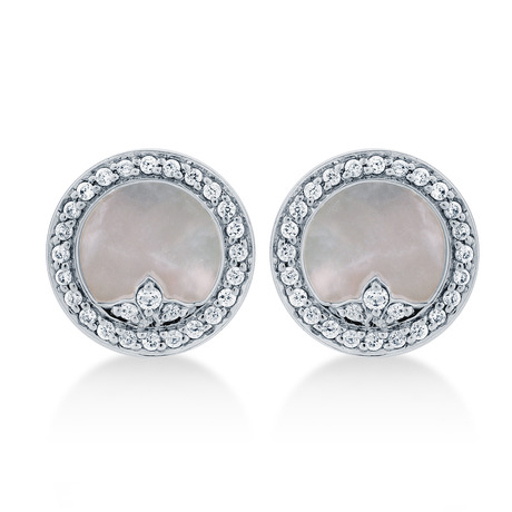 Treasure Empress White Mother of Pearl Stud Earrings in 18ct White Gold