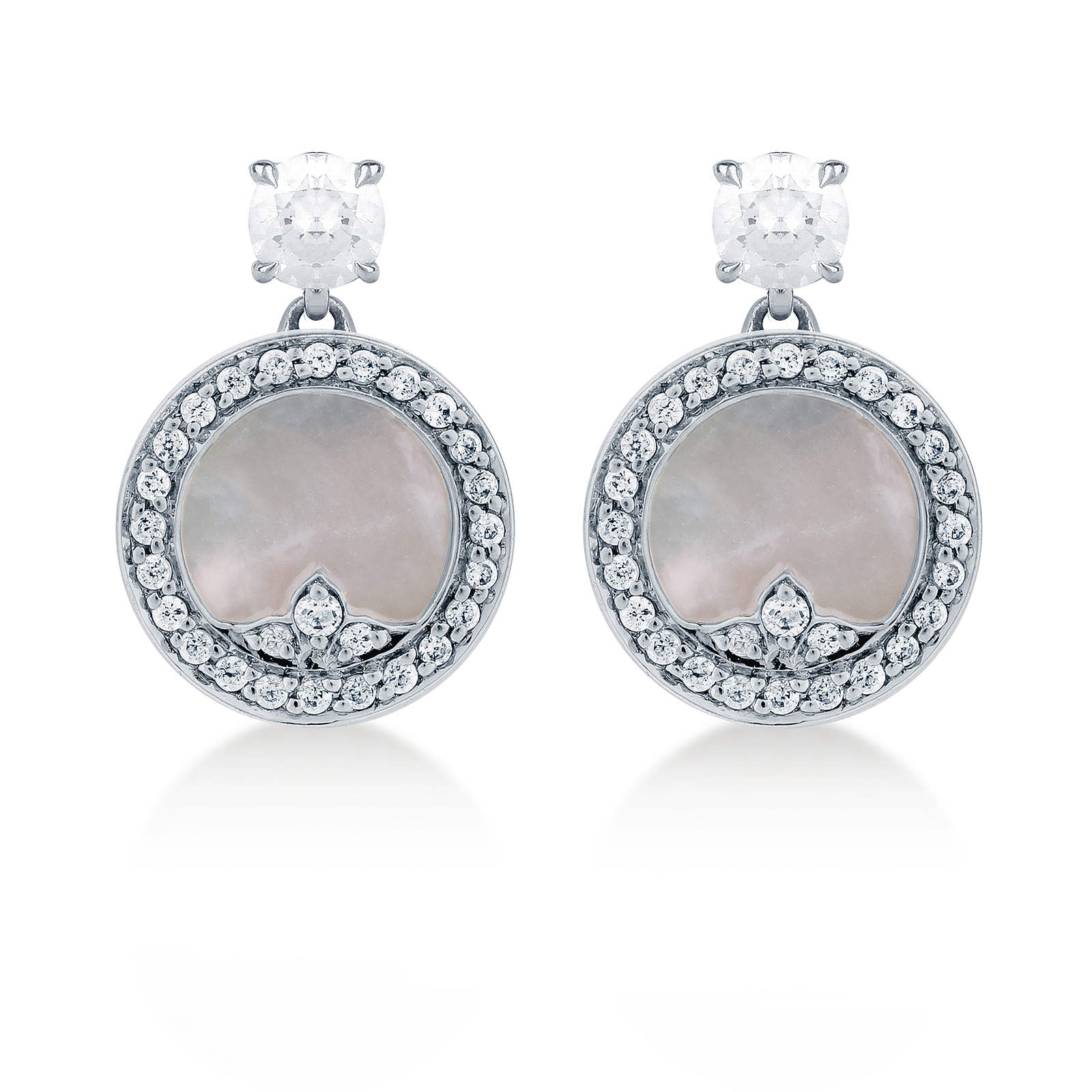 Treasure Empress Grey Mother of Pearl Stud Earrings in 18ct White Gold