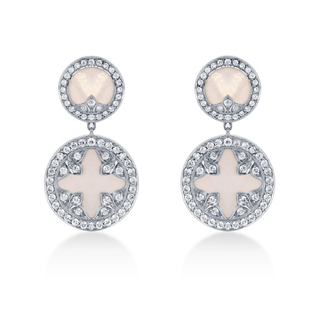 Treasure Empress White Mother of Pearl Drop Earrings in 18ct White Gold