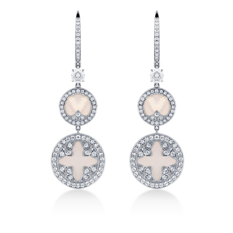 Treasure Empress White Mother of Pearl Double Drop Earrings in 18ct White Gold