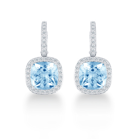 Carrington 18ct White Gold 6.50cttw Blue Topaz and 0.60cttw Diamond Drop Earrings