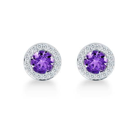 Carrington 18ct White Gold 1.30cttw Amethyst and 0.30cttw Diamond Stud Earrings