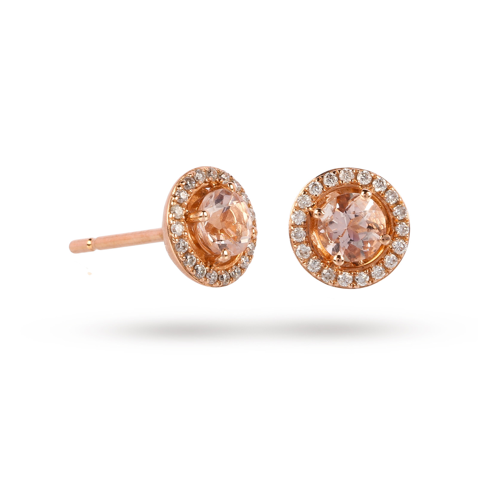 9ct Rose Gold 0.54ct Morganite and Diamond Halo Stud Earrings