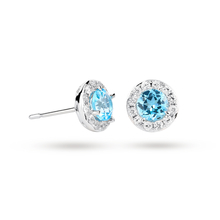 9ct White Gold Blue Topaz and Diamond Halo Stud Earrings